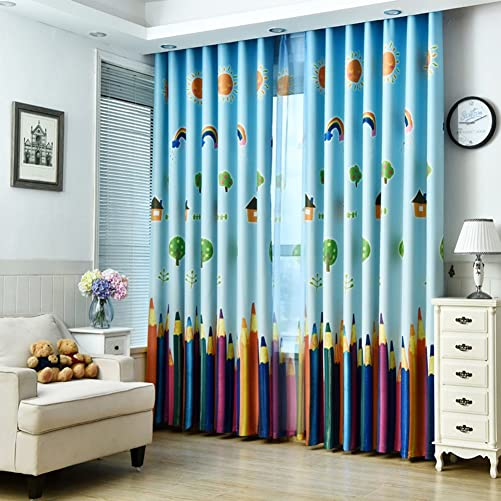 MYRU 1 Pair Dining Room Curtains,Kids Room Darkening Curtains,Room Decor for Childrens Bedroom Colorful Pencil 2 x 54×84 Inch