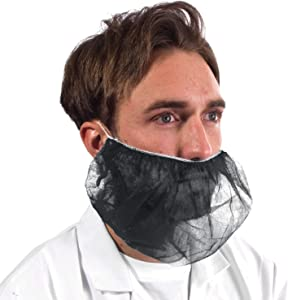 ABC Pack of 100 Black Polypropylene Beard Covers 18