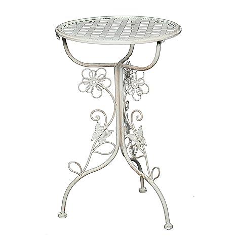 Tavolo Ferro Bianco.Tavolino D Appoggio Flora O 32 Cm Ferro Bianco Antico Tavolo Vintage Shabby Chic