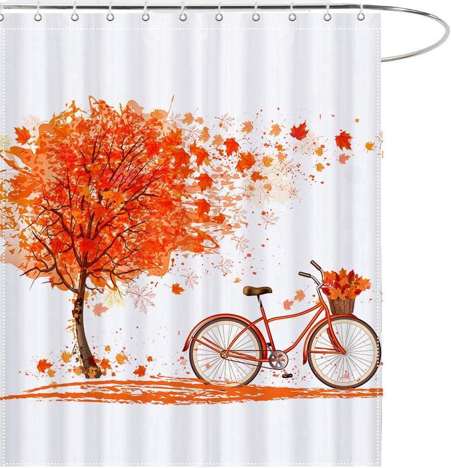 MAEZAP Fall Tree Bicycle Shower Curtain Autumn Orange Bathroom Decor Waterproof Polyester with Hooks 69x70 Inchs