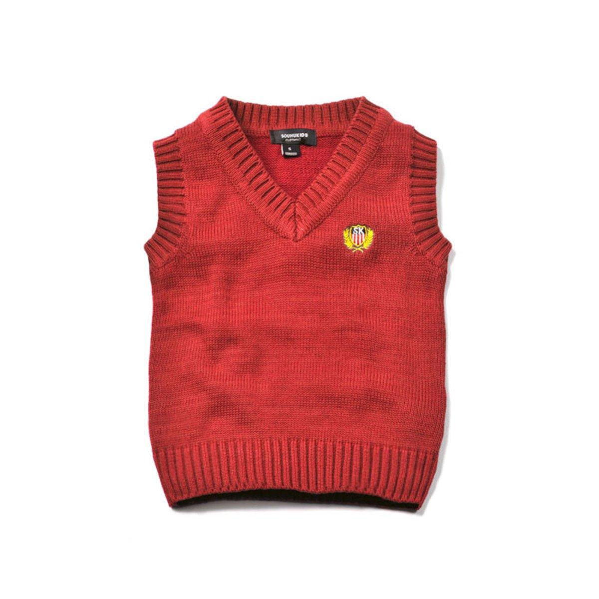 Baby Boys Girls Toddler V-Neck Solid Color Pullover Sweater Students Vest
