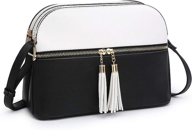Womens Fashion Multi Pocket Silver Tone Crossbody Shoulder Bag Messenger Handbag