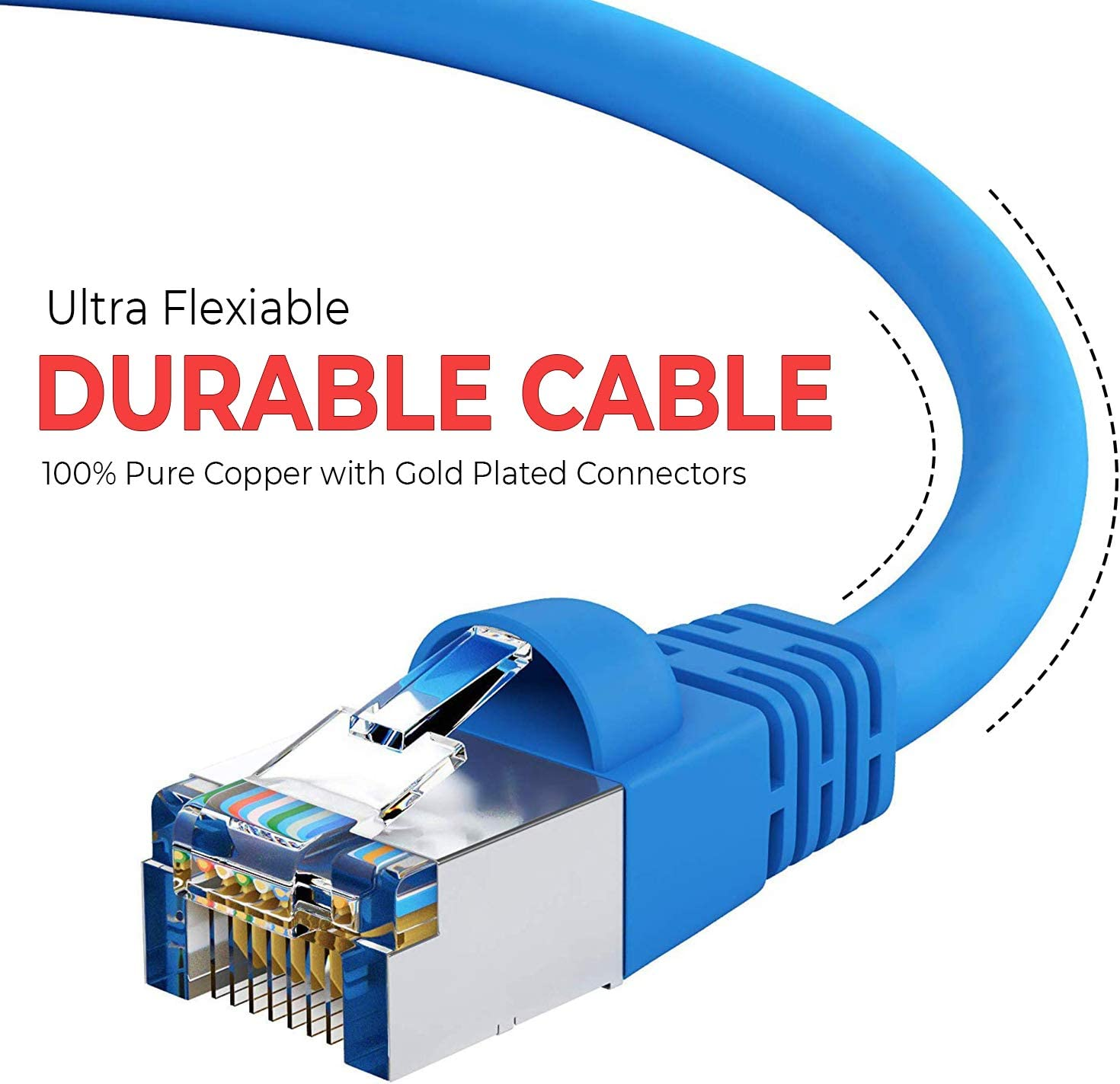 Available in 28 Lengths and 10 Colors Computer Network Cable with Snagless Connector Cat5e Shielded Ethernet Cable GOWOS 20-Pack RJ45 10Gbps High Speed LAN Internet Cord FTP 3 Feet - Gray