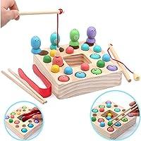 Symiu Juguetes de Pesca para Niños 3 IN 1 Montessori Magneticos Juguetes Madera 10 Pescados y 10 Bolas Puzzle Juegos de…