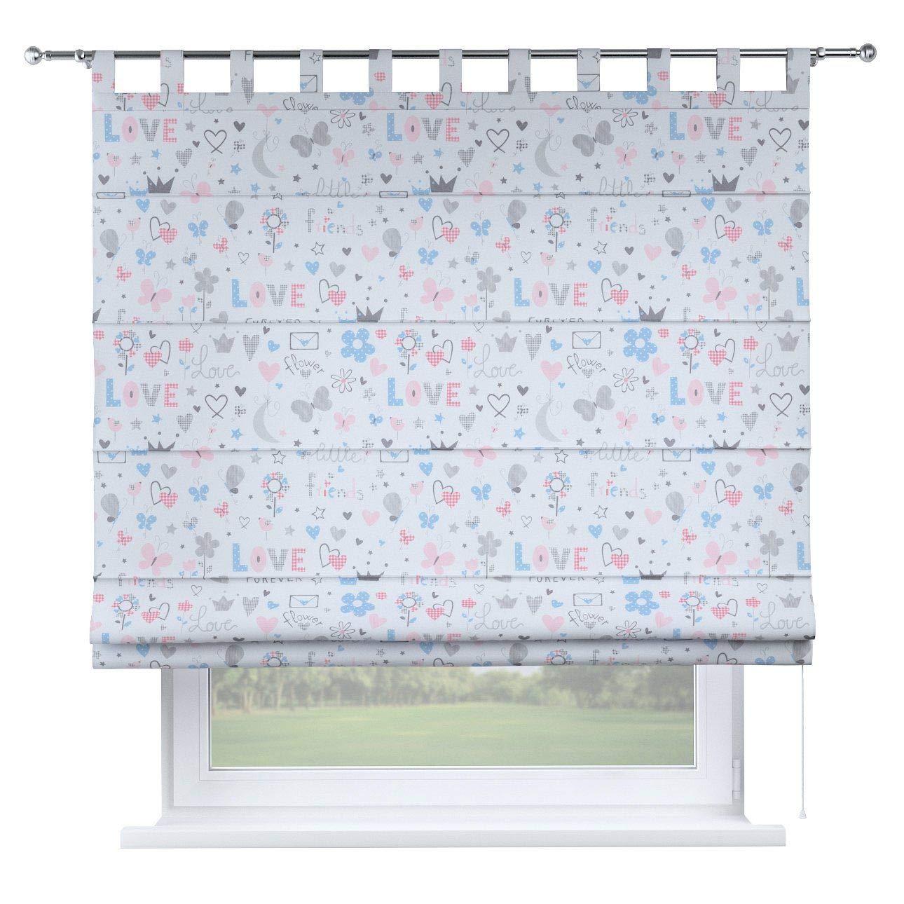 Dekoria Raffrollo Verona ohne Bohren Blickdicht Faltvorhang Raffgardine Wohnzimmer Schlafzimmer Kinderzimmer 100 × 170 cm grau-rosa-blau Raffrollos auf Maß maßanfertigung möglich