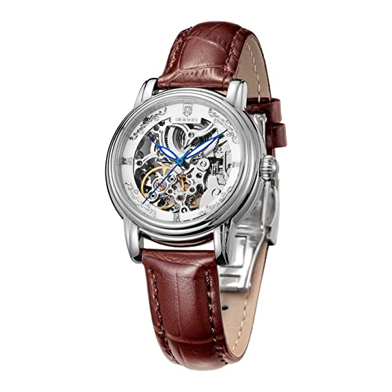 Women's Wrist Watches ROCOS Japanese Automatic Mechanical Watch for Women Waterproof Analog Watch with Genuine Leather Skeleton Luxury Classic Elegant Gift#R0206 (Silver & Brown)