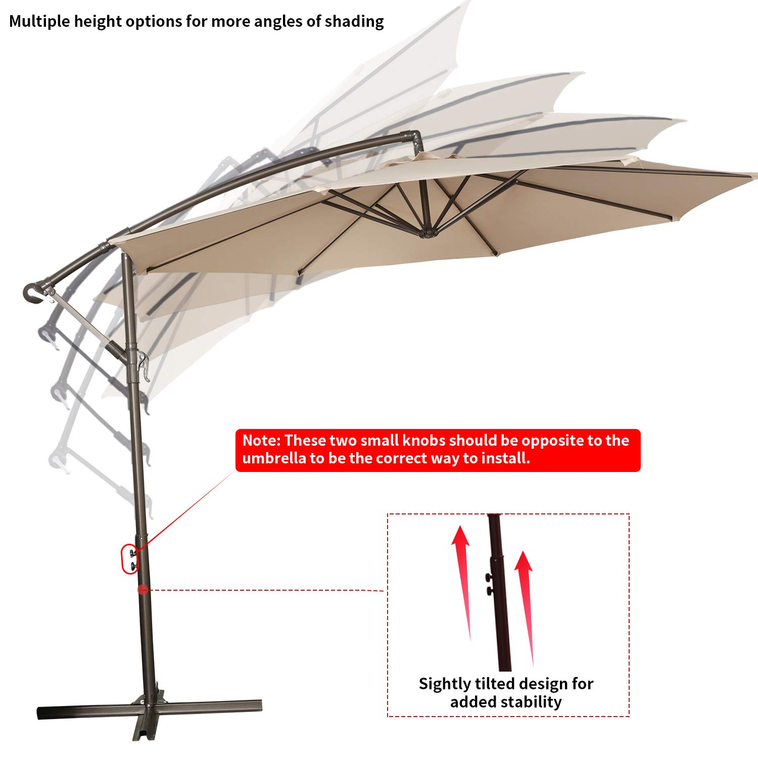 RUBEDER Offset Umbrella - 10Ft Cantilever Patio Hanging Umbrella,Outdoor Market Umbrellas with Crank Lift & Cross Base (10 Ft, Beige) by RUBEDER (Image #6)