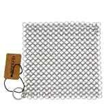"Cast Iron Cleaner 6"" x 6.3"" Premium 316L Stainless Steel Chainmail Scrubber for Skillet, Wok, Pot, Pan; Pre-Seasoned Pan Dutc"