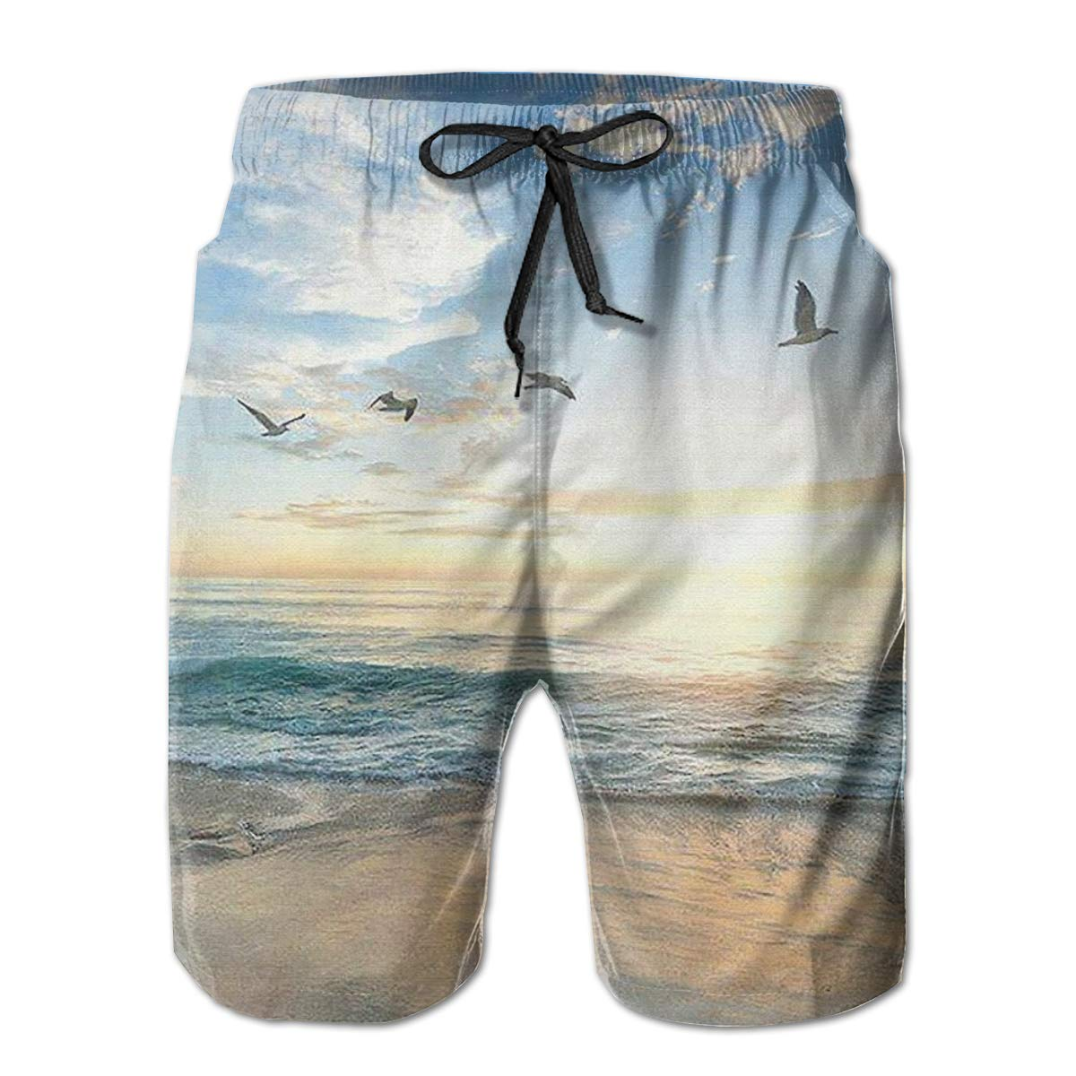 WWT Sea Mens Fashion Beach Shorts with Mesh Lining//Side Pockets