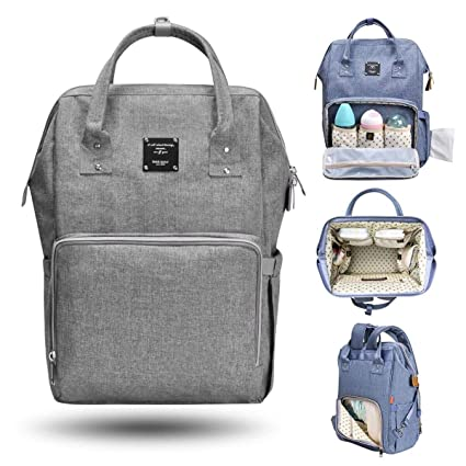 017bffc7d98 Bebamour Diaper Tote Bag Nappy Changing Backpack Large Capacity Nappy Bag  Multi-funtion Backpack (Grey)  Amazon.co.uk  Baby