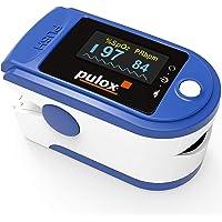Pulsoximeter PULOX PO-200 Solo in blauw vingerpulsoximeter voor het meten van de hartslag en zuurstofverzadiging op de…