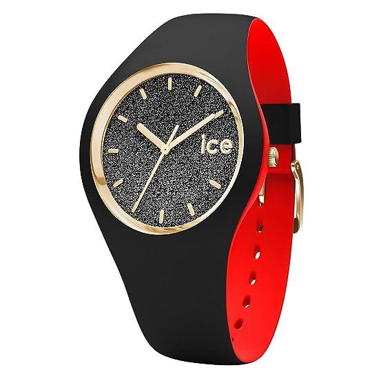 Ice Bracelet En Loulou Montre Noire Femme Glitter Pour Silicone Watch Avec Black nv0yONmw8