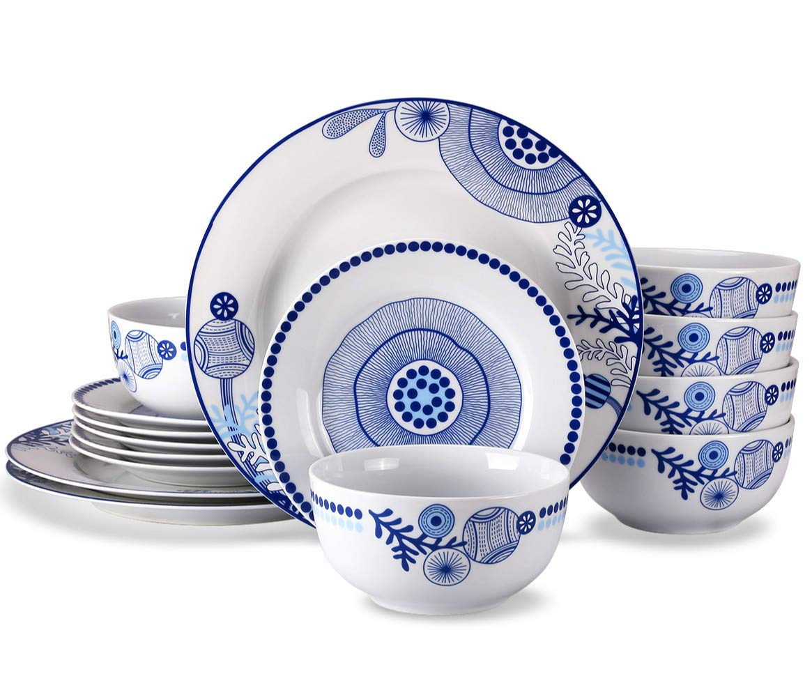 Blue Doublewhale 18-Piece Dinnerware Set, Service for 6