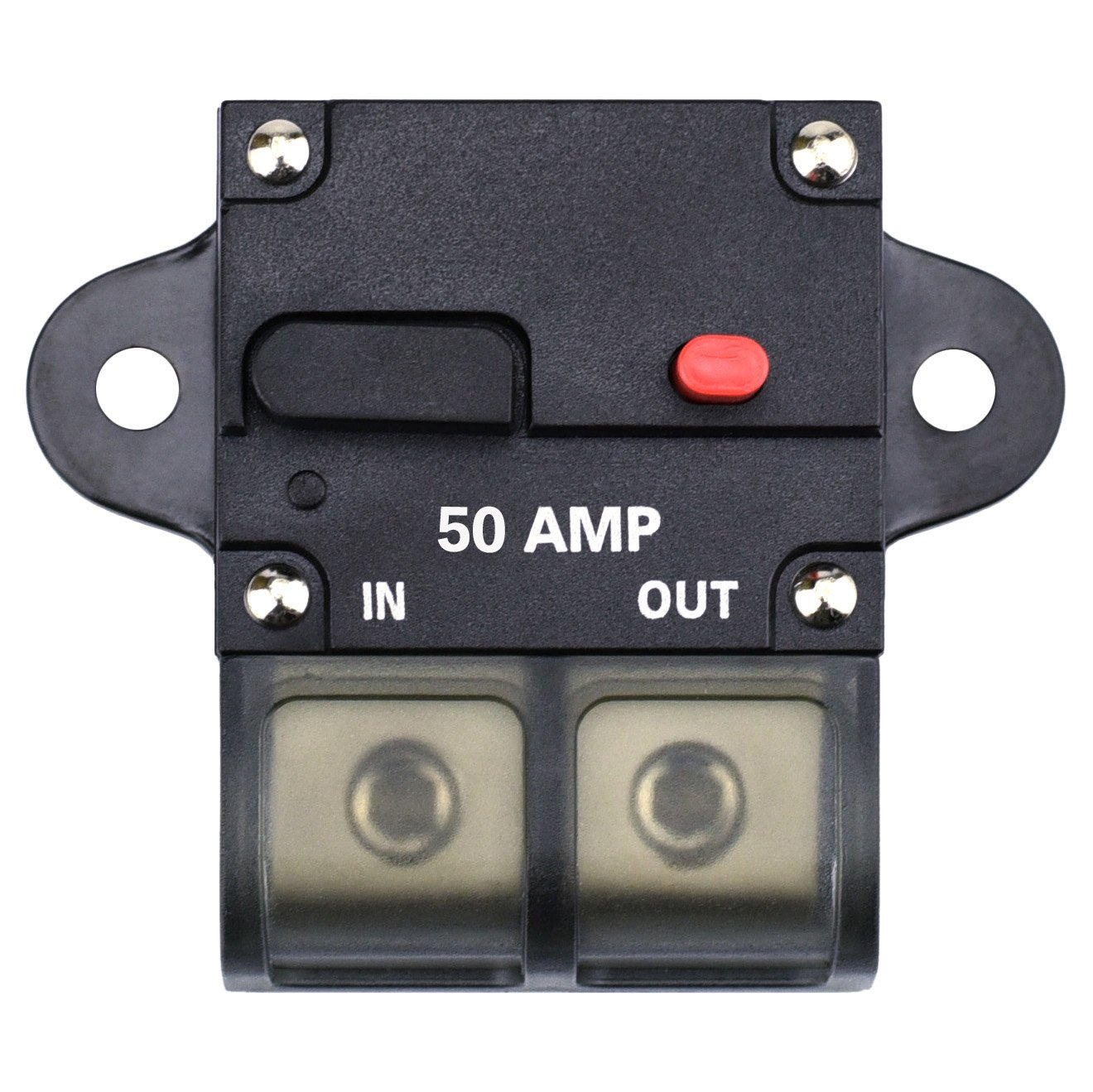 0-8 Gauge Wire Inline Fuse Block 12V 42V DC for Car Rv Marine Automotive Stereo Audio Electronic System Cllena 50 Amp Circuit Breaker with Manual Reset