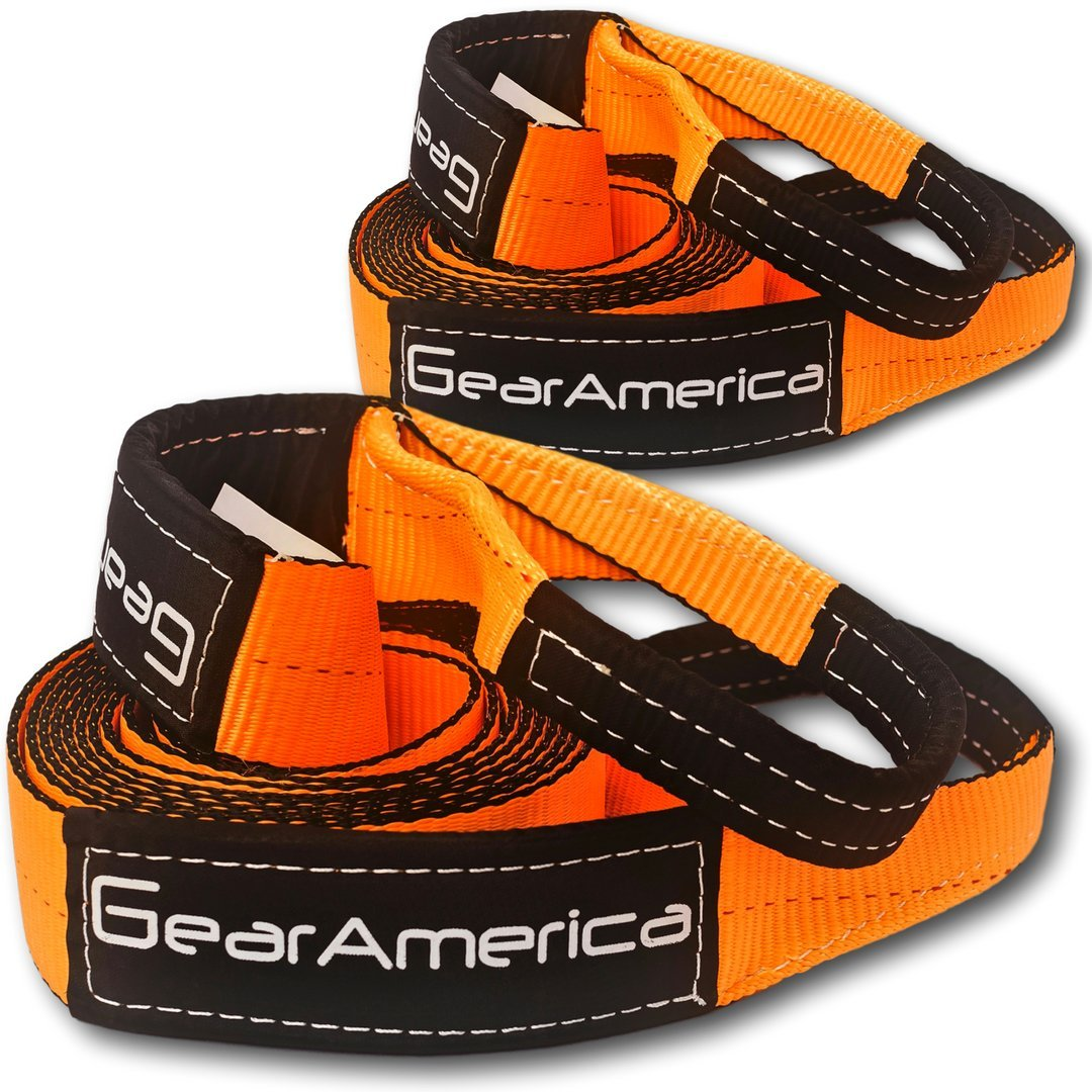 GearAmerica (2PK) Recovery Tow Straps 3'' x20' | Heavy Duty Lab Tested 35,054 lbs (17.5 Tons) Strength | Triple Reinforced Loops + Protective Sleeves | Emergency Off Road 4x4 Towing | Free Storage Bag
