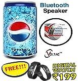Soft Drink Pepsi Cola Beer Can Shape Mp3 Audio Songs Fm Radio Multimedia Speaker with free Digital wrist watch.