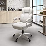 Svitlife White Leatherette Office Chair Height Mid