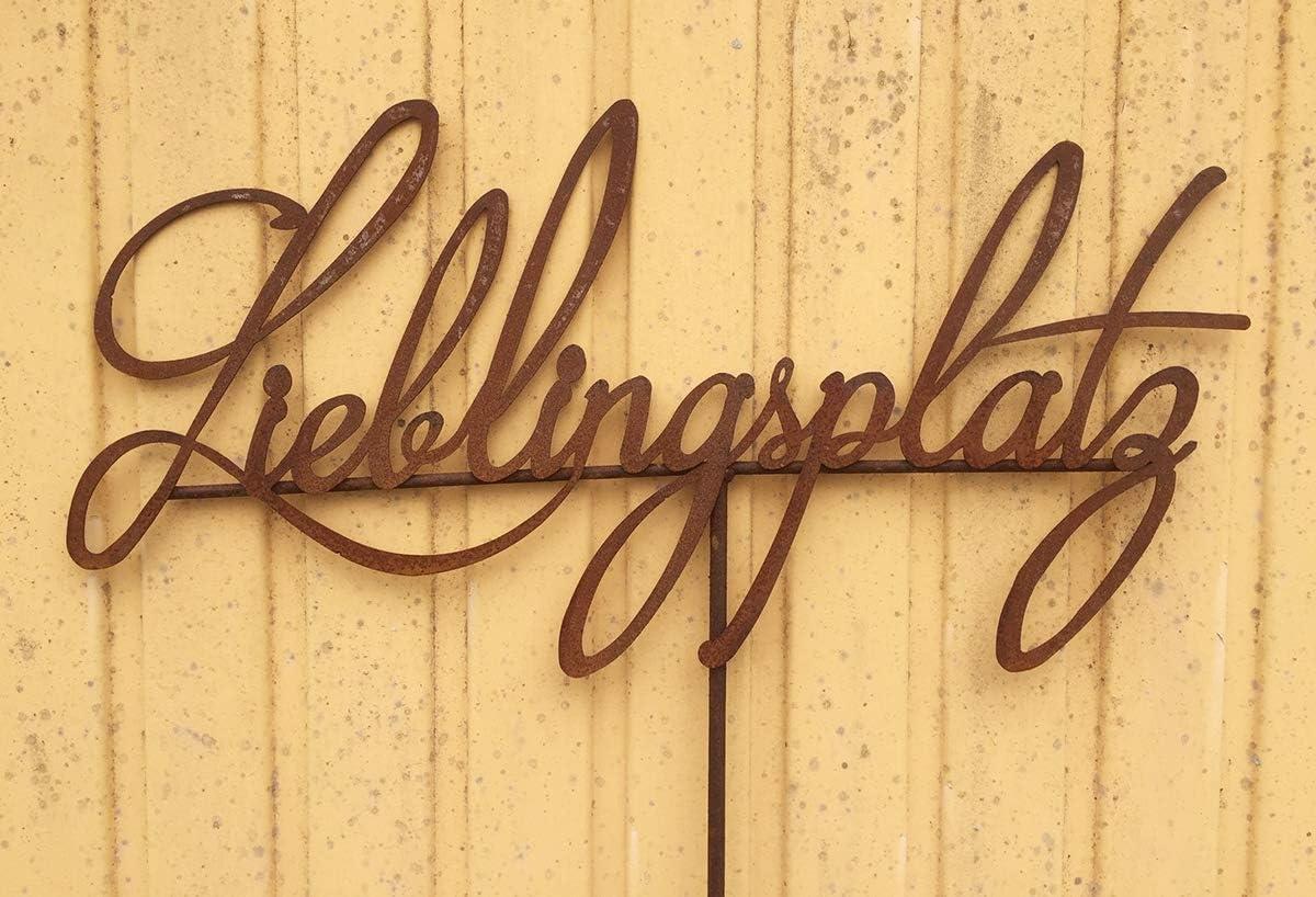Schild LIEBLINGSPLATZ 70x35cm Stab Gartenstecker Edelrost