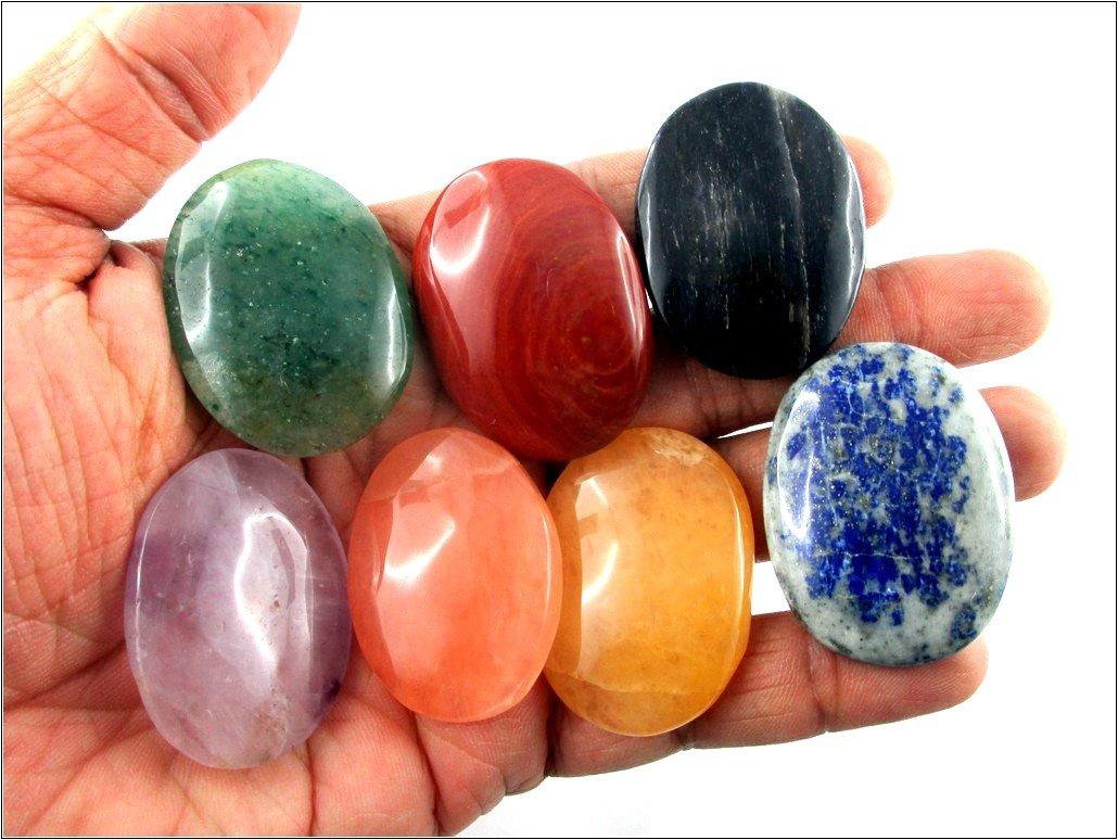 Fantastic Chakra Gemstone 7 Oval Flat Stone Set Palm Worry Stone Thumb Stone Crystal Therapy Geometry