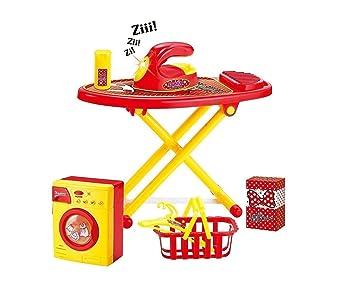 Juego con lavadora, tabla de planchar, plancha, cesta para ropa, perchas, polvo, spray, soporte con luz y de efectos de sonido: Amazon.es: Juguetes y juegos
