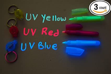 Directglow Set Of 3 Invisible Uv Blacklight Ink Marker Blue Red Yellow With Uv Lights