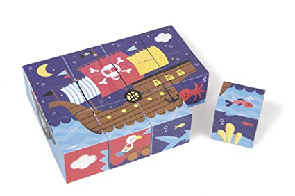 Janod Kubkid Pirates Blocks Puzzle (12 Piece)