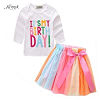 KIDSA 1-7T Baby Little Girls Letters T-Shirt + Colorful Rainbow Skirts Birthday Gift Outfits Set