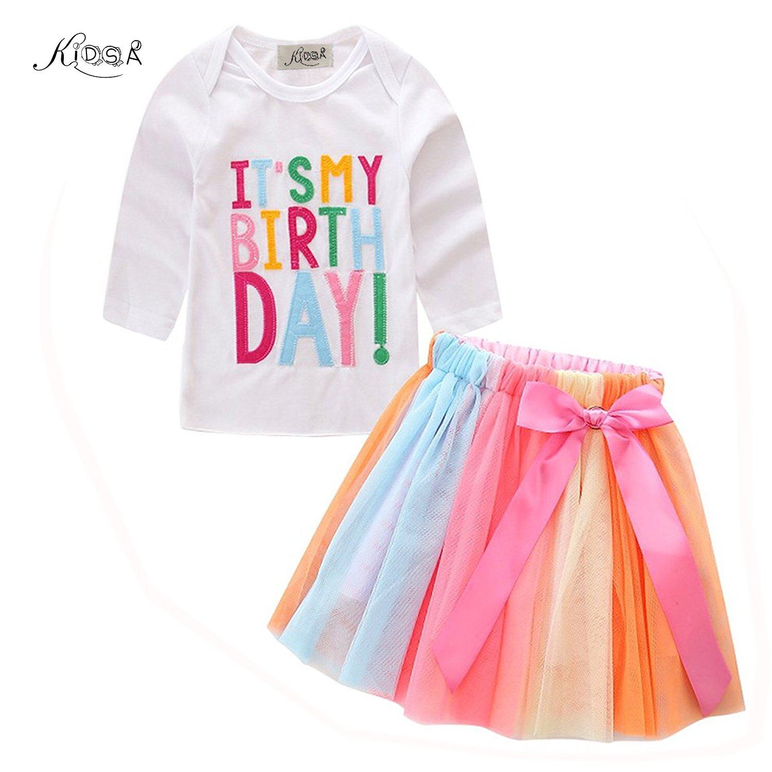 Kidsa 1-7T Baby Little Girls Long Sleeve T-shirt + Colorful Rainbow Skirts Birthday Gift Outfits Set,White-long Sleeve,90 / 2-3T