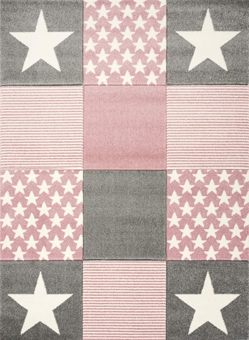 Livone Spielteppich Moderner Teppich mit Konturenschnitt Kinderzimmer Kinderteppich mit Sternen in Weiss Silber grau rosa Größe 160 x 220 cm
