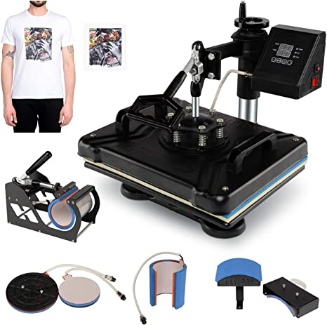 TryE Digital Heat Press Machine Swing Away Transfer Printer Sublimation T-Shirt Mug Plate Hat 12 x 15 5 in 1