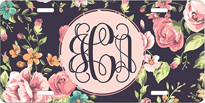 Monogram License Plate Pink Roses Turquoise Personalized Car Tag New