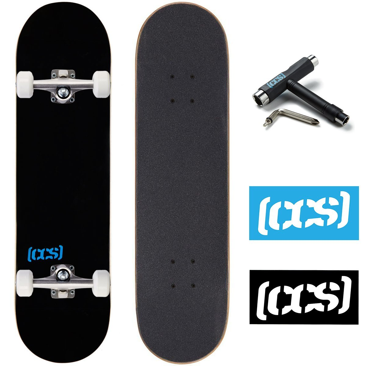CCS Skateboard Complete - Color Logo and Natural Wood - Fully Assembled - Includes Skateboard Tool and Stickers (Black, 7.0'' (Mini/Kid's Size))