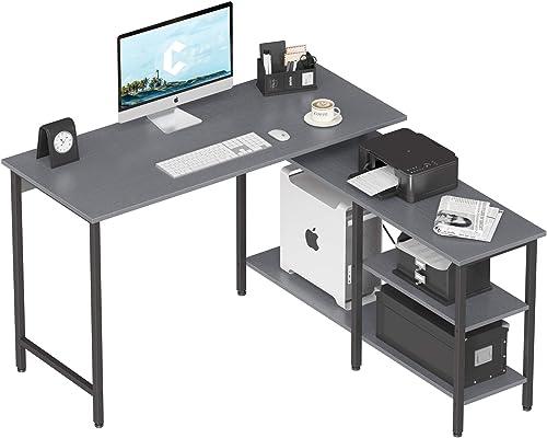 Cubicubi L Shaped Desk,Computer Coner Desk,Home Office Writing Desk,Side Removable Storage Desk,Gray