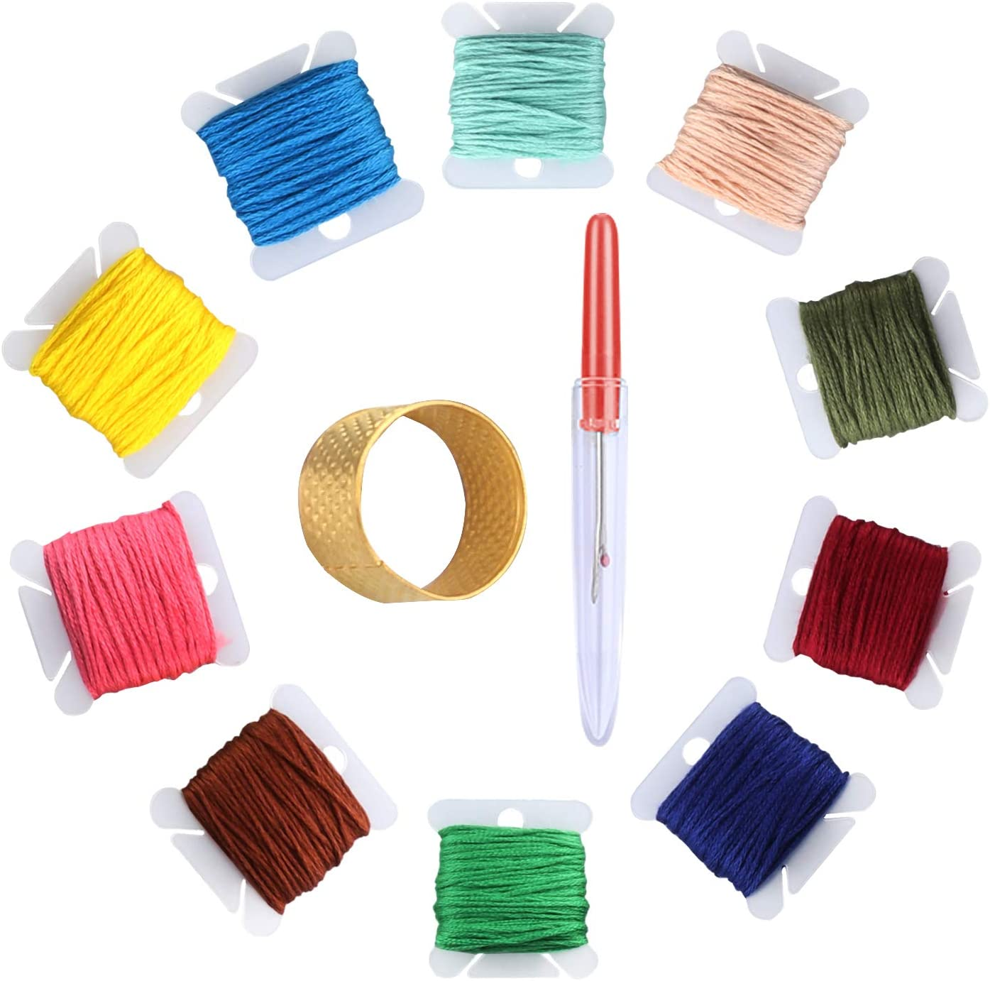 Friendship Bracelets Thread Crafts Floss Rainbow Color with Free Embroidery Needles. Cross Stitch Threads Embroidery Floss Oladwolf Embroidery Threads Floss 50 Pack