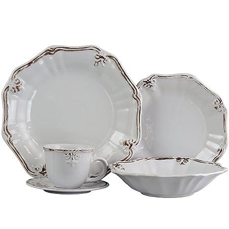 Elama 930102840M ELM-FLEURDELYS-WHITE Fleur De LYS, 20pc Dinnerware