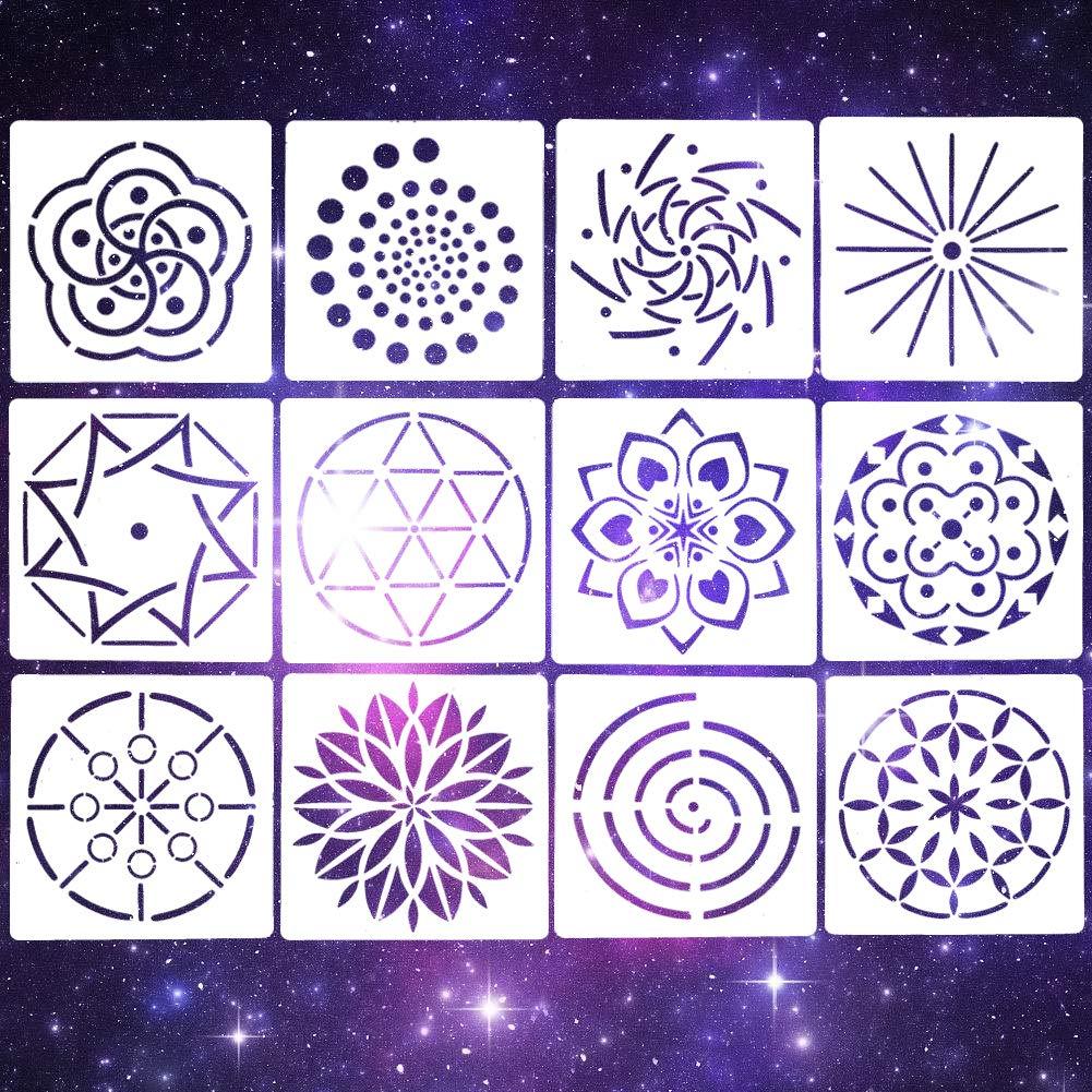 EVNEED Pack of 12 Mandala Dotting Stencils Mandala Stencils Set (5.2 * 5.2 inch) Painting for Rock,Wood, Fabric, Airbrush and Walls Art