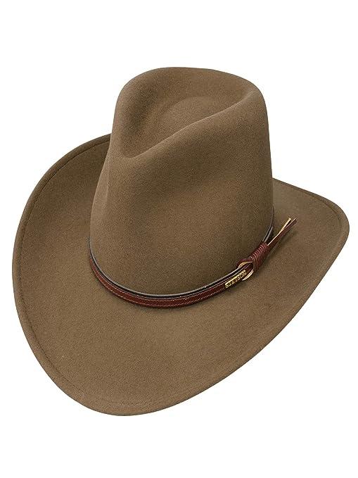 490a1eb8bb0892 Stetson Men's Bozeman Wool Felt Leather Hatband Outdoor Cowboy Hat - Light  Brown at Amazon Men's Clothing store: