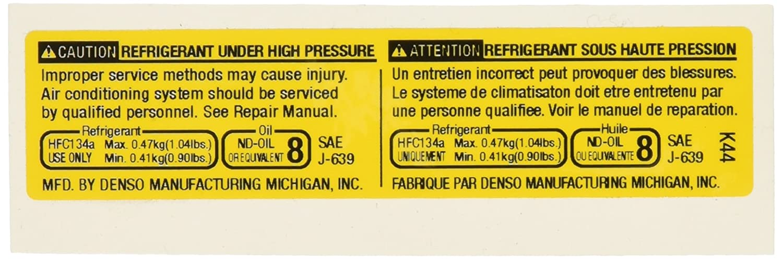 Genuine GM 19184698 Air Conditioning Refrigerant Warning Label
