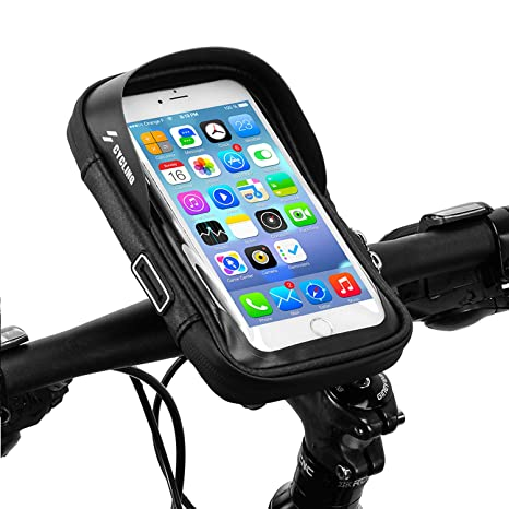 Nero,size/¡/Ü6 Telefono Bicicletta Bici Borsa Ciclismo a Manubrio Custodia Impermeabile Bicicletta Custodia Smartphone Porta Cellulare Moto Waterproof Phone Case Bag per GPS iPhone X 8//7 Plus Samsung S8