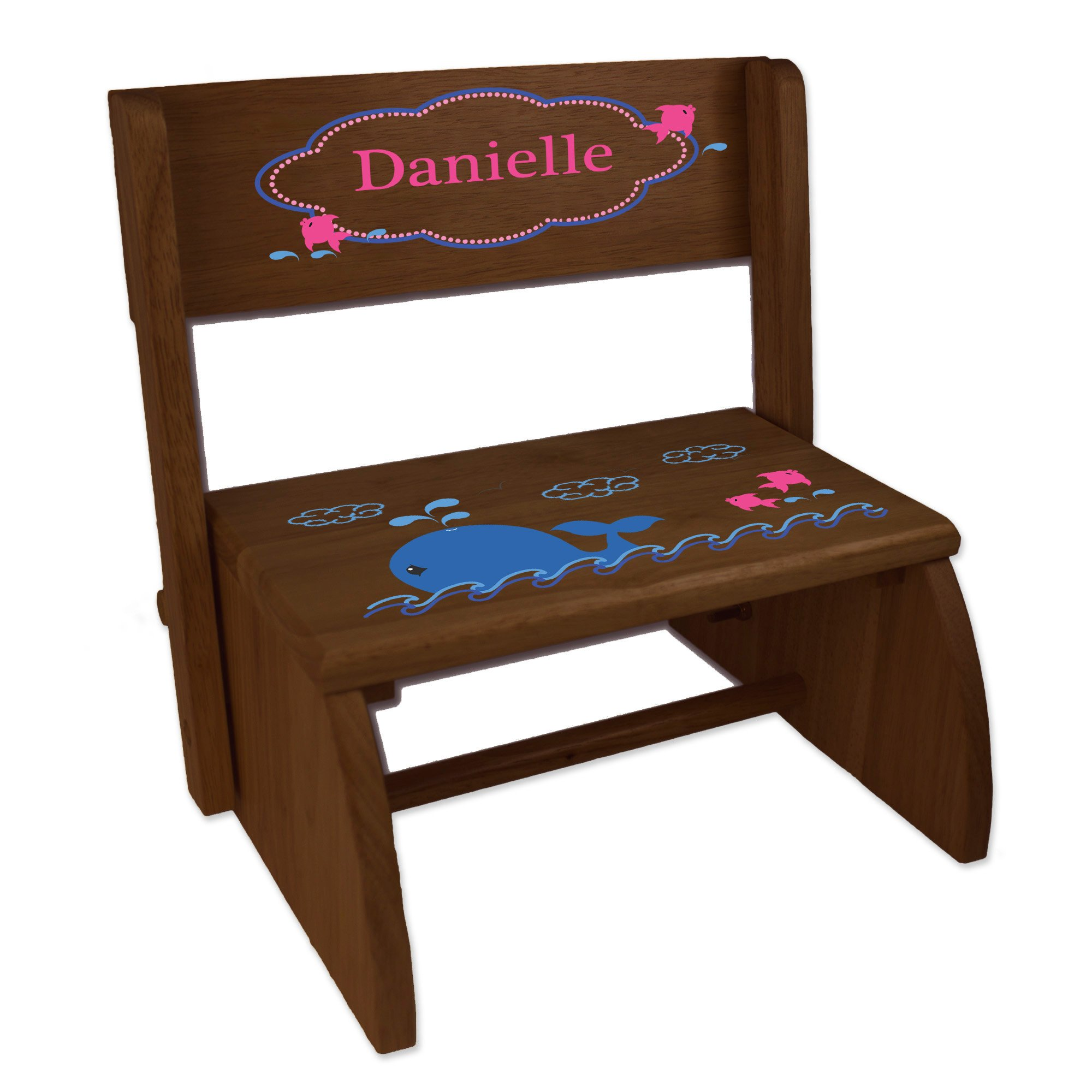 Personalized Pink Whale Childrens and Toddlers Espresso Folding Stool