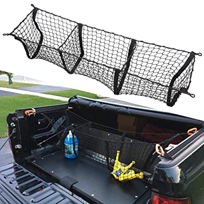 Three Pocket Pickup Truck Cargo Net Fit for Dodge Ram 1500 2013-2020 Cargo Organizer Storage Net: Automotive