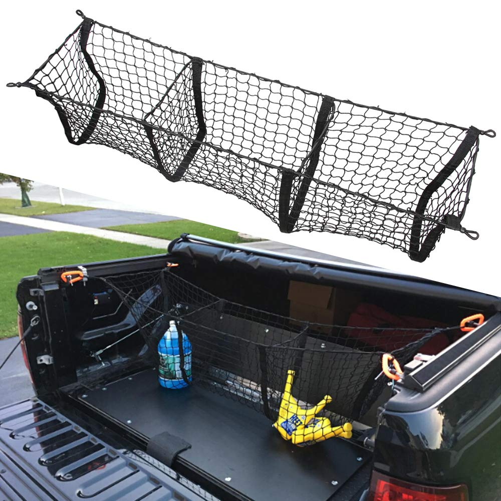 Three Pocket Pickup Truck Cargo Net Fit for Dodge Ram 1500 2013-2019 Cargo Organizer Storage Net etopmia