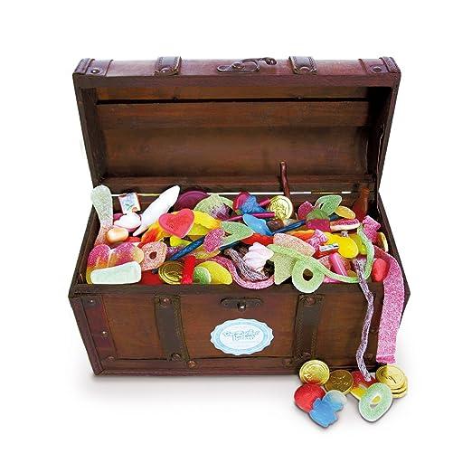 Schmatztruhe, eine Süßigkeitenholztruhe mit den besten Süßigkeiten aus Deiner Kindheit, ein riesiger Schatz mit 3100 Gramm Sc