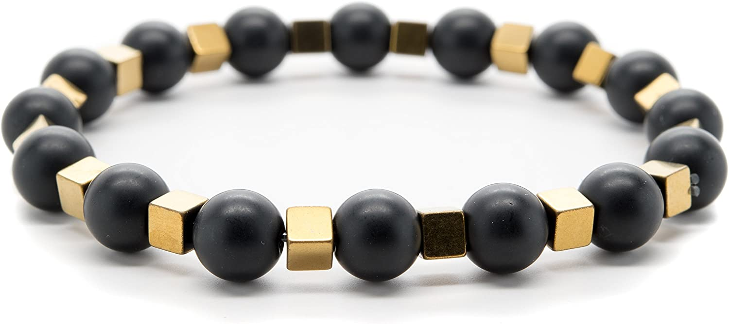 by Adds Boho Charm to Any Outfit for Chakra Healing and Balancing Real Black Onyx and Hematite Gemstones Orti Jewelry Wrist Beads Semiprecious Stone Bracelet fits Men and Women 7 inch