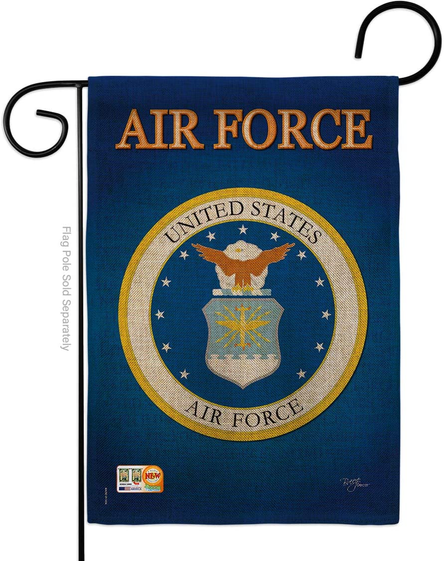Breeze Decor Air Force Burlap Garden Flag Armed Forces USAF United State American Military Veteran Retire Official Small Decorative Gift Yard House Banner Double-Sided Imported 13 X 18.5
