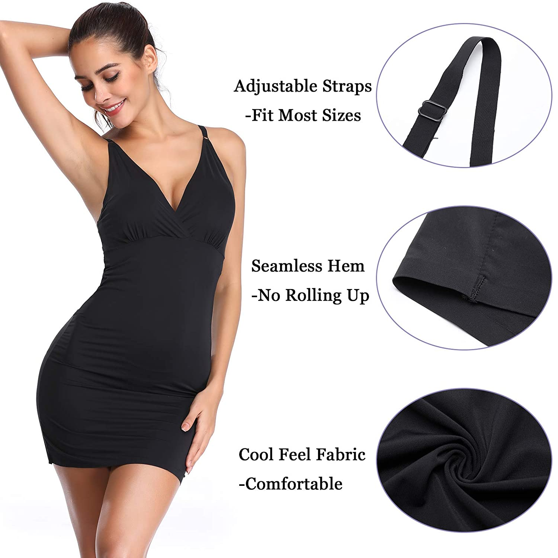553b3794e253 Joyshaper Full Slips for Women Black Nude Beige Long Camisole Control  Bodycon Tank Dress Petticoat Underskirt Underdress Nightdress Chemise  Adjustable ...
