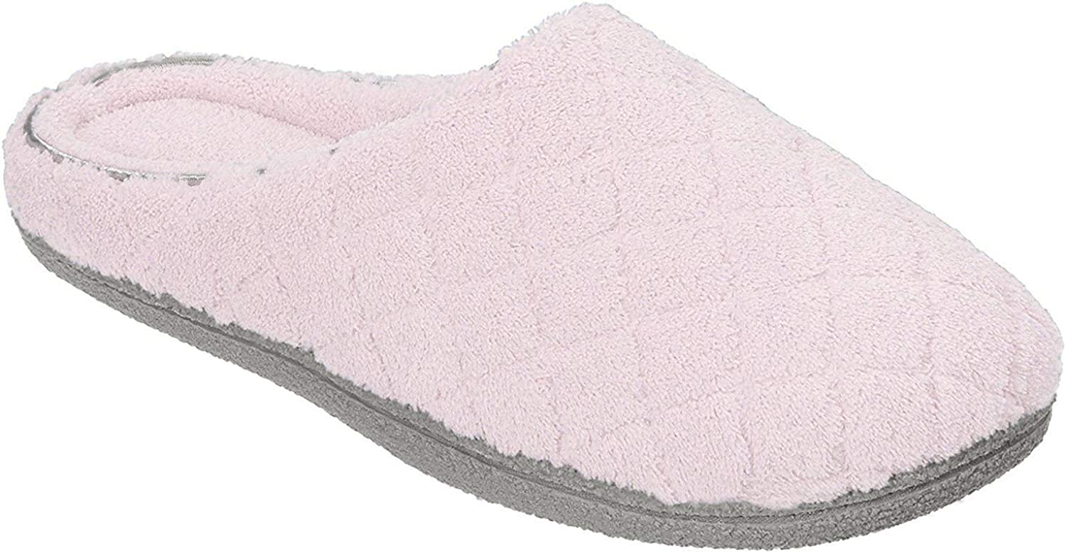 Dearfoams Womens Quilt Terry Clog Mule Slippers
