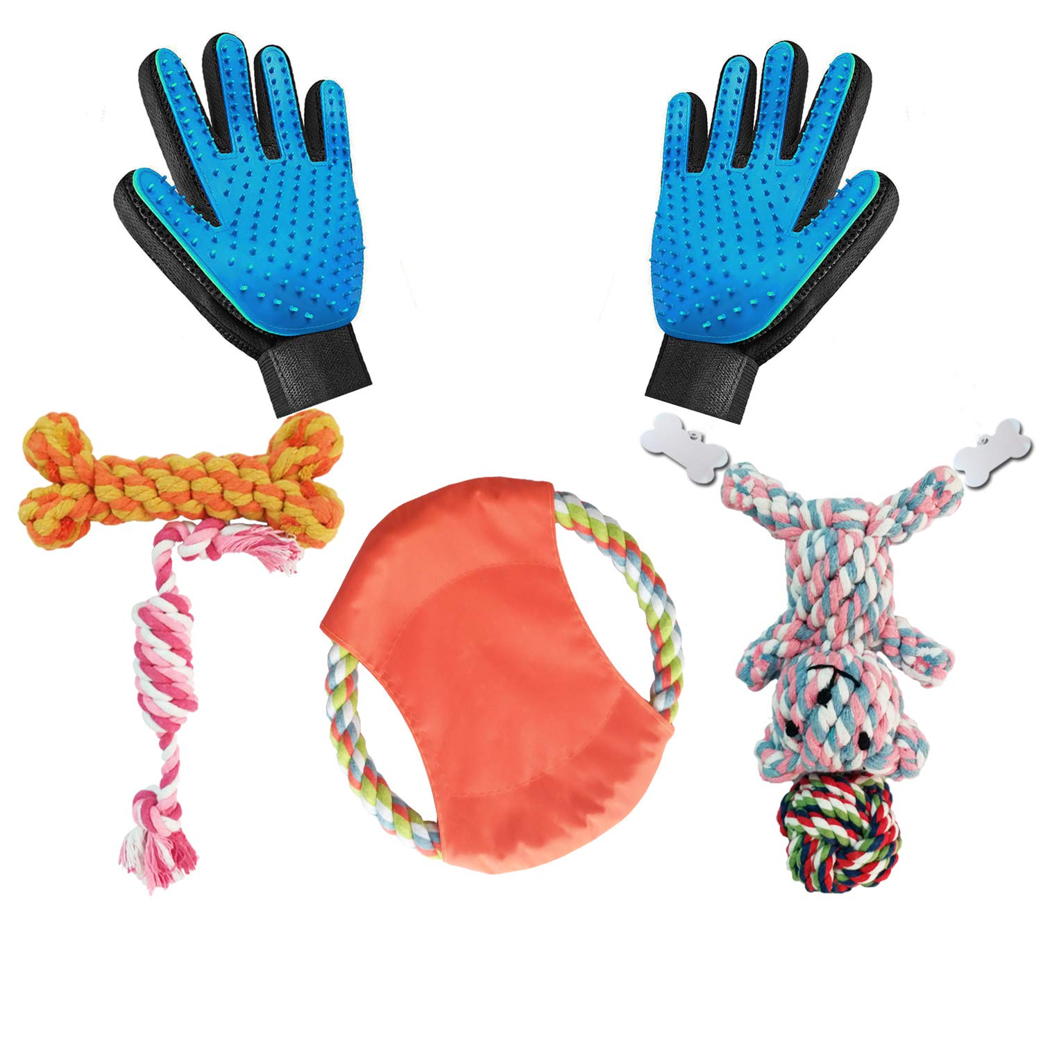 Dog Rope Toys for Aggressive Chewers-Set of 9 Nearly Indestructible Dog Toys with Pet Grooming Brush Glove - Bonus Giraffe Rope Toy with pet ID Tag- Efficient Pet Hair Remover Mitt - Massage Tool