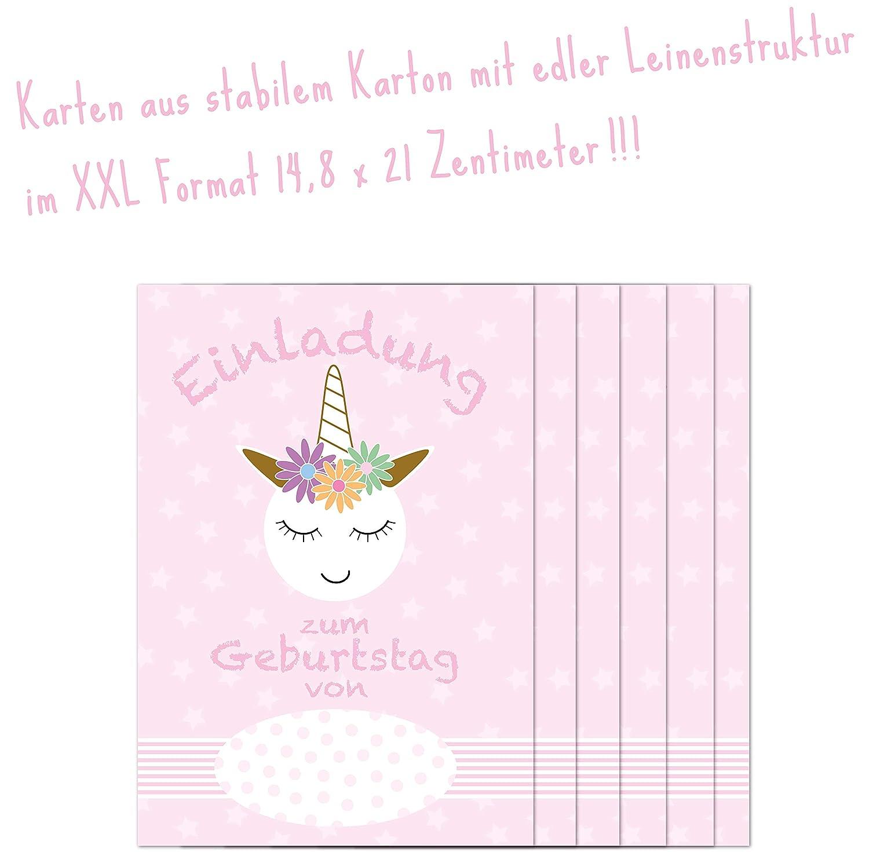 Biglietti d invito XXL per festa di compleanno bambini unicorno rosa ragazza//set contiene 6/carte con 6/Buste e 6/Sticker