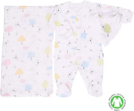 Sevira Kids – Pijama bebé con bandana y pañuelo de algodón orgánico, KOALA beige gris Talla:1-3M - 56CM: Amazon.es: Bebé